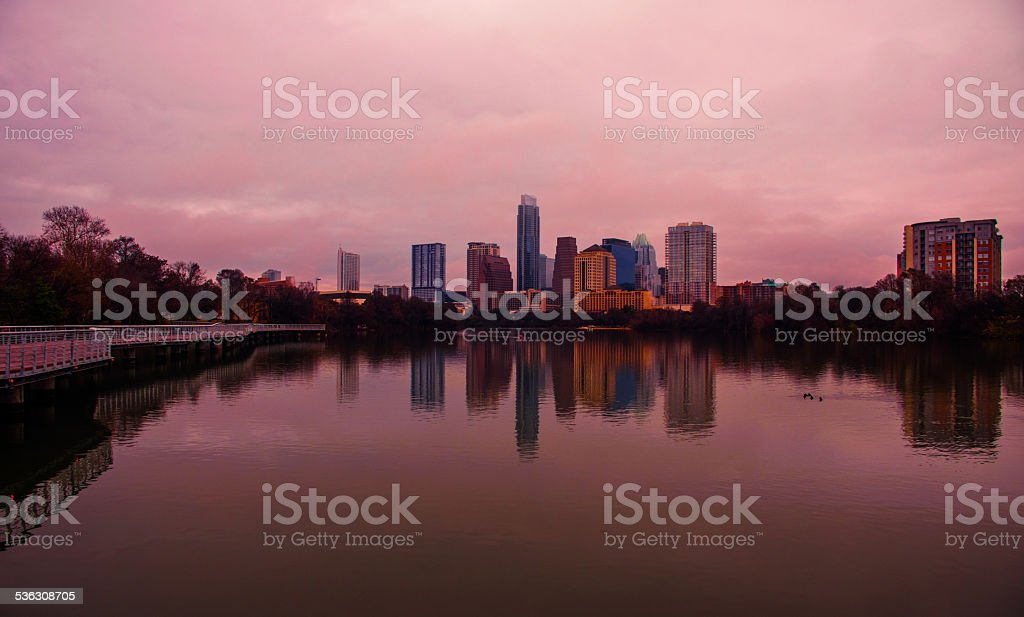 Bronze Austin Texas 2015 New Lake Reflection Walking Bridge stock photo