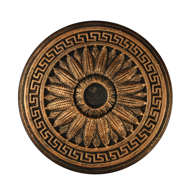 bronze bas-relief outlet on a black background - art deco stock photos and pictures