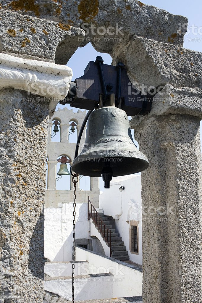 Bronze bell detail of the Monastery St. John, Patmos royalty-free stock photo
