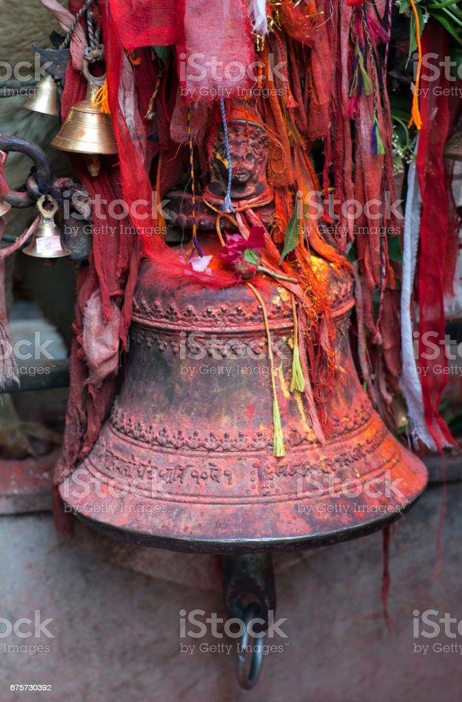 Bronze bell in a hindu temple in Kathmandu, Nepal stock photo