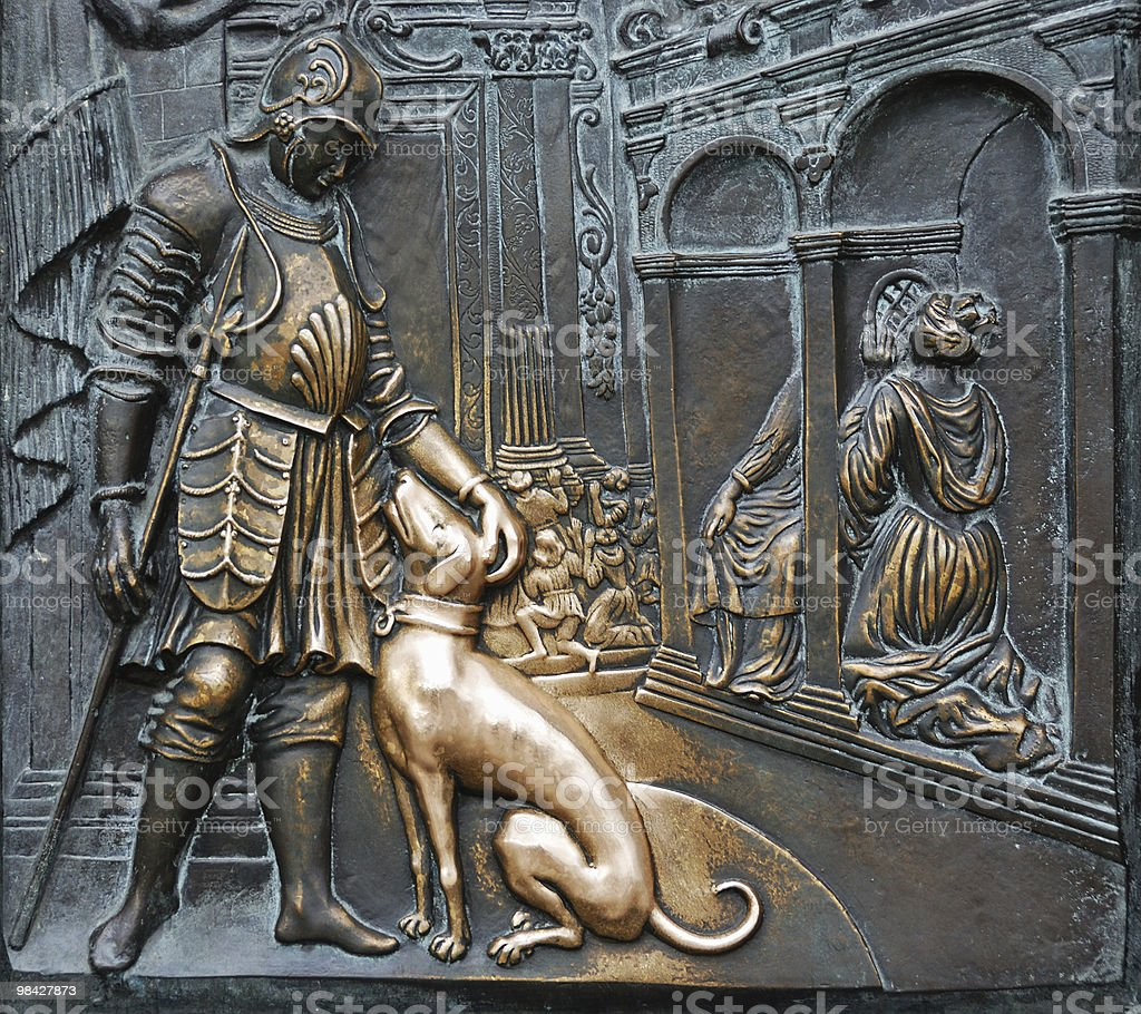 Bronze board on Charles Bridge in Prague royalty-free stock photo