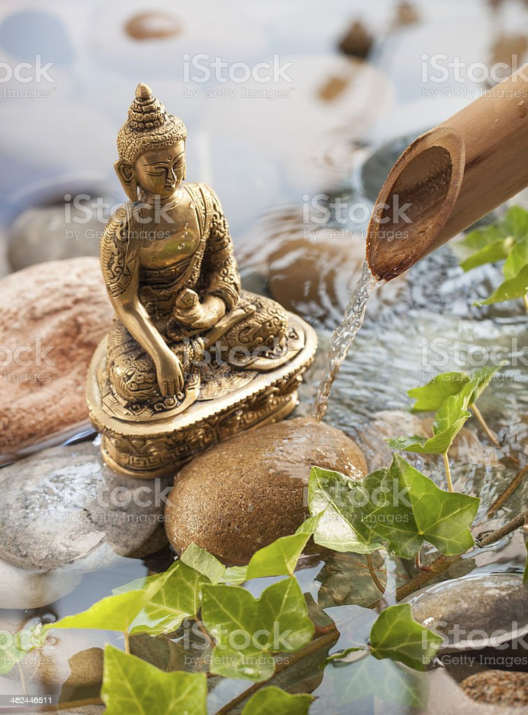 bronze Buddha meditating for environment protection stock photo