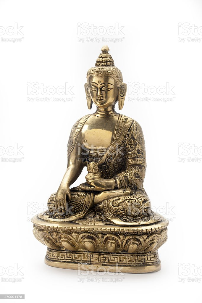 Bronze Buddha statue on white background royalty-free stock photo