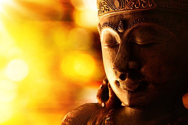 bronze buddha statue stock photo