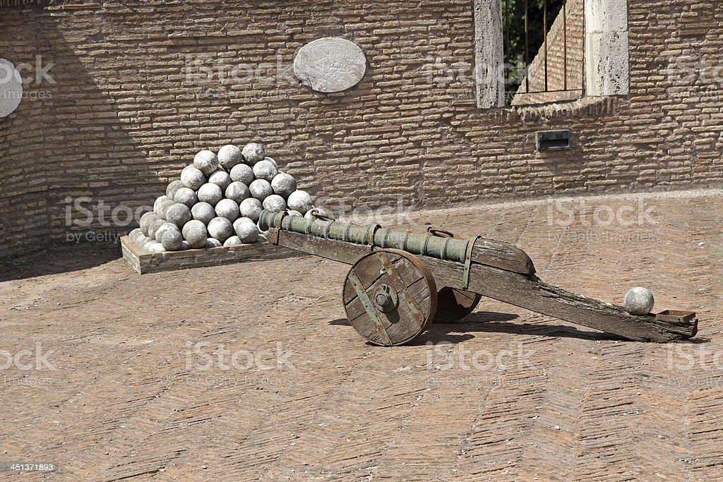 bronze cannons and the marble cannon balls to Castel Sant'Angelo stock photo