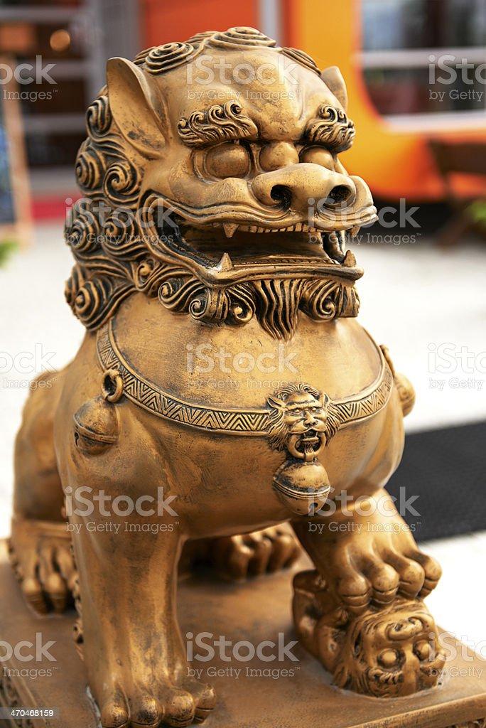 Bronze chinese lion royalty-free stock photo
