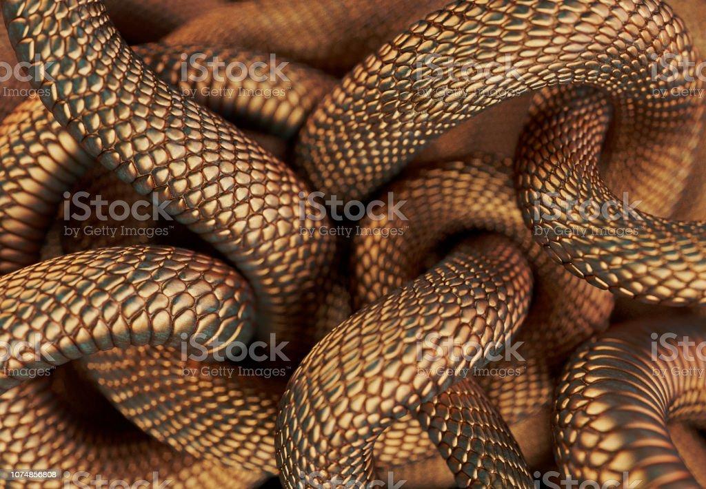 Bronze Coloured Snakes stock photo