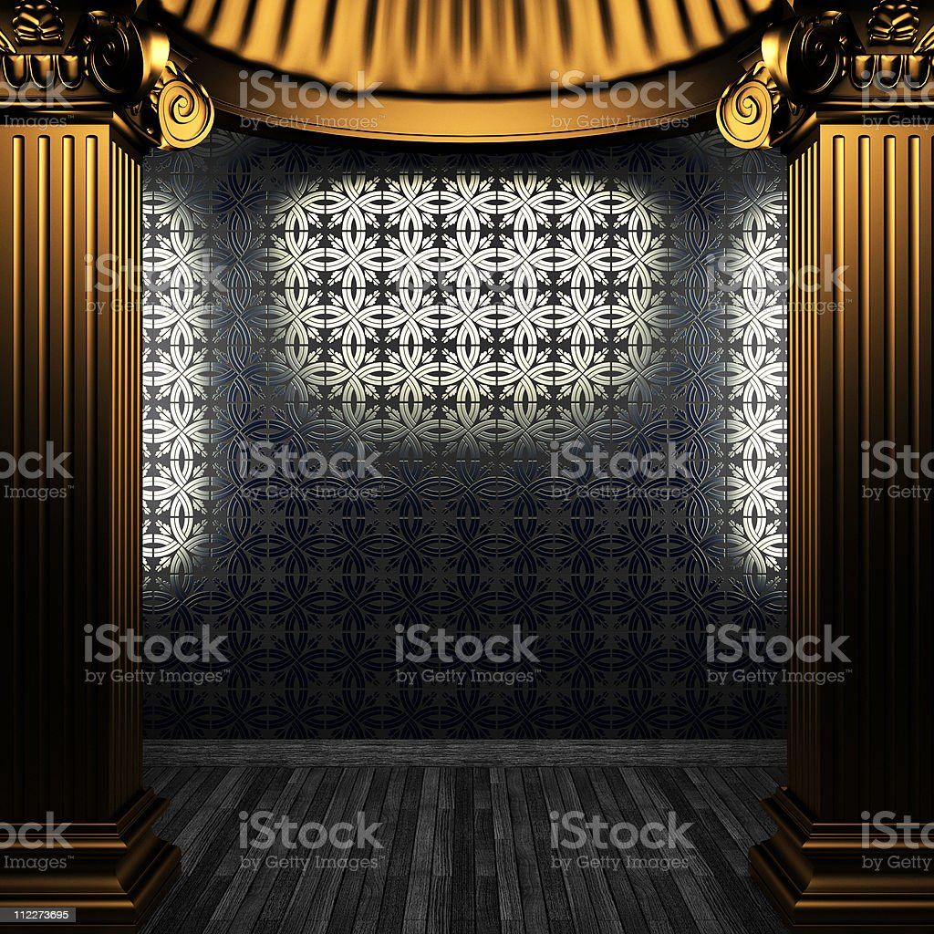 bronze columns and tile wall royalty-free stock photo