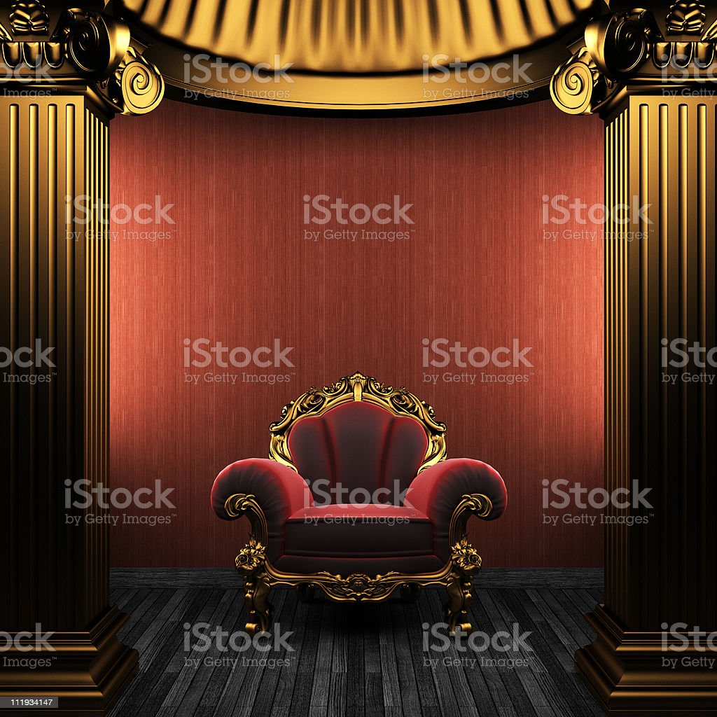 bronze columns, chair and wallpaper royalty-free stock photo
