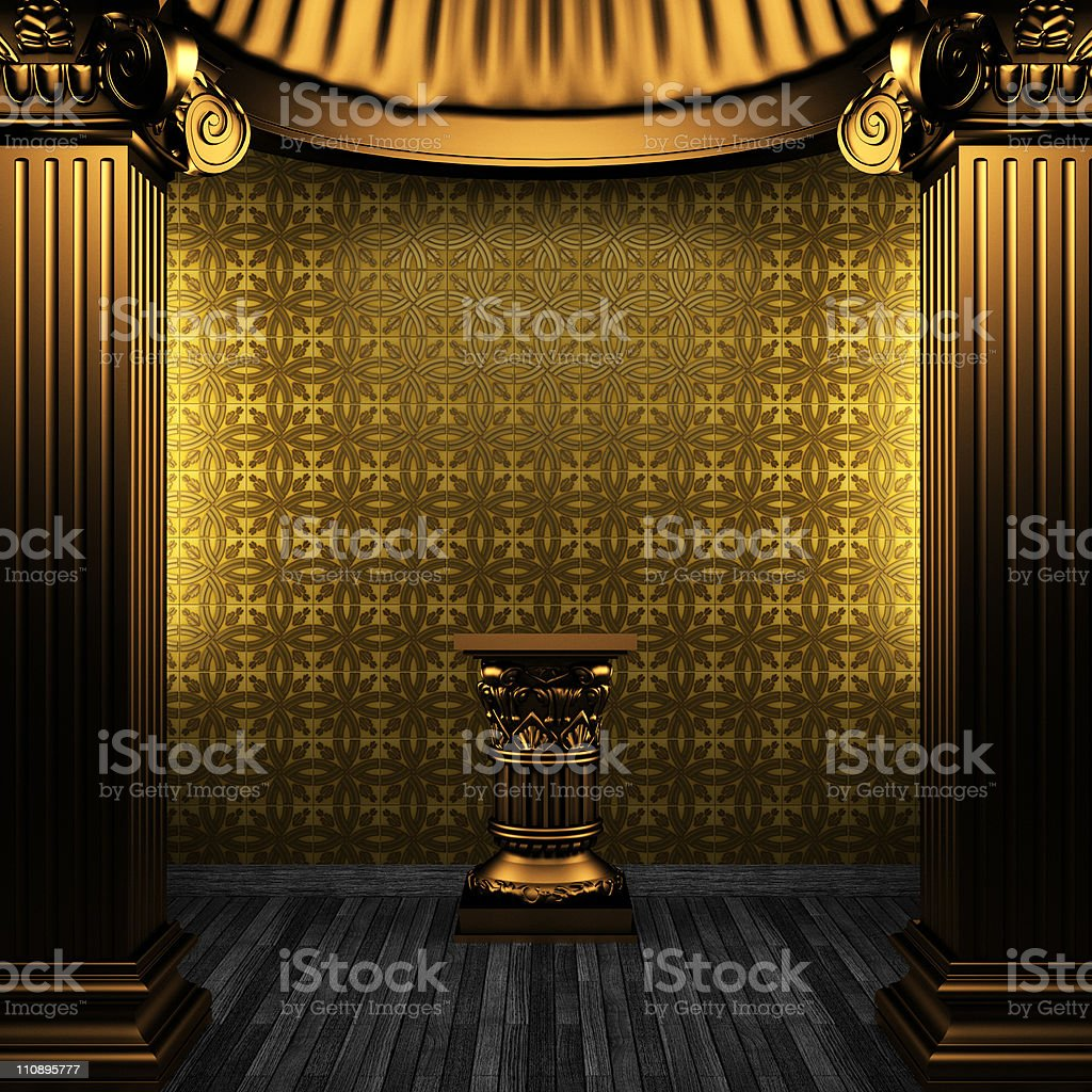 bronze columns, pedestal and tile wall royalty-free stock photo