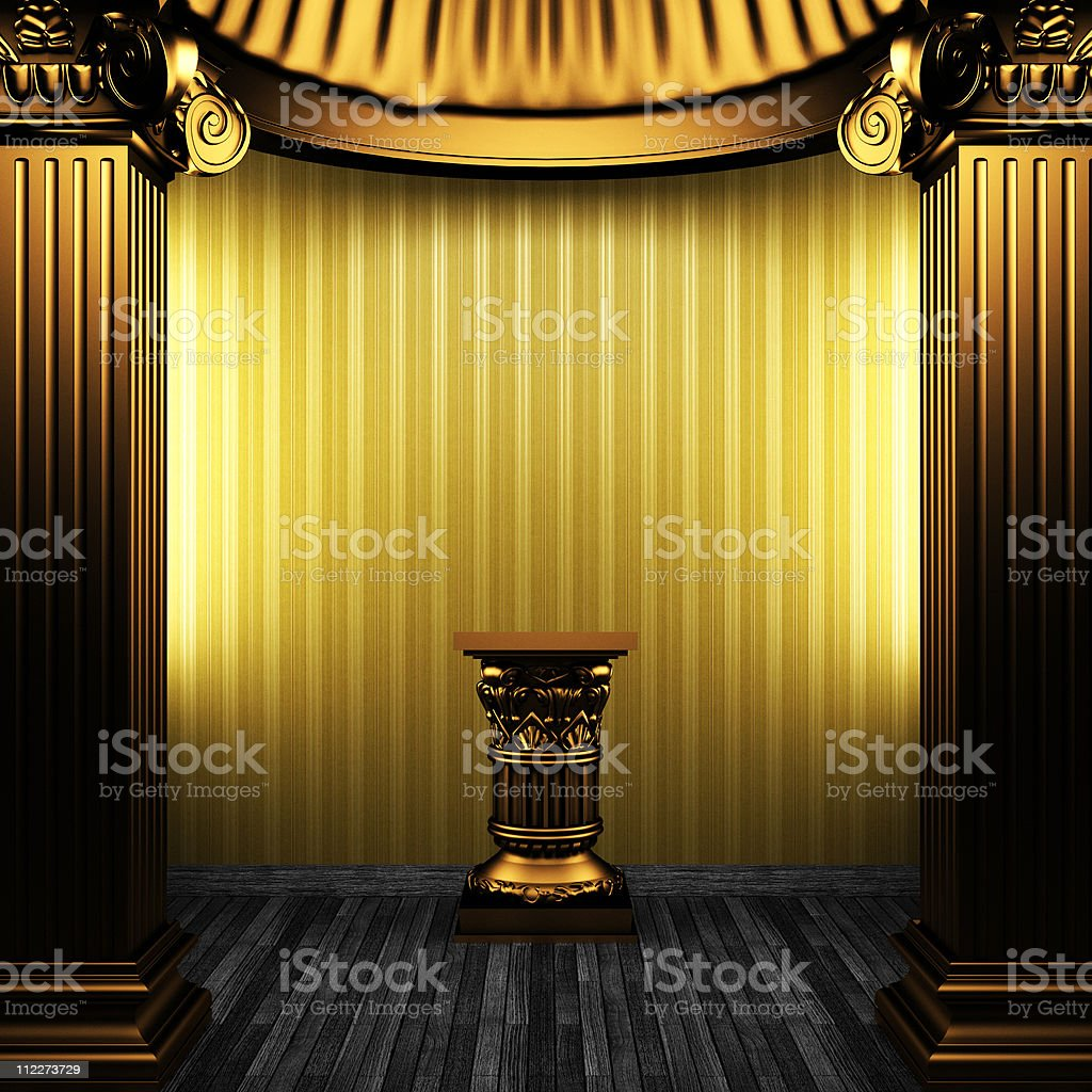 bronze columns, pedestal and wallpaper stock photo
