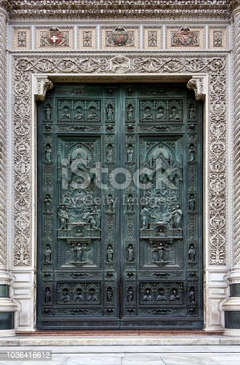 Beautiful  bronze door of the cathedral Santa Maria del Fiore in Florence, Italy