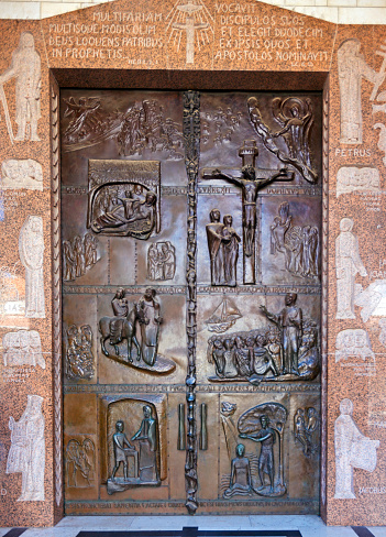 istock Bronze Doors of Annunciation Cathedral in Nazareth 471997091