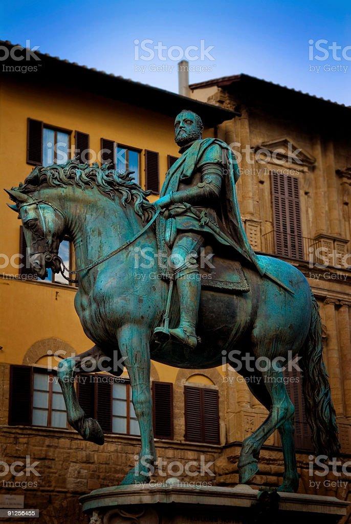 Bronze equestrian statue stock photo