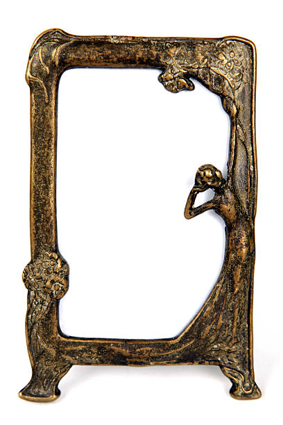 bronze frame - art nouveau stock photos and pictures
