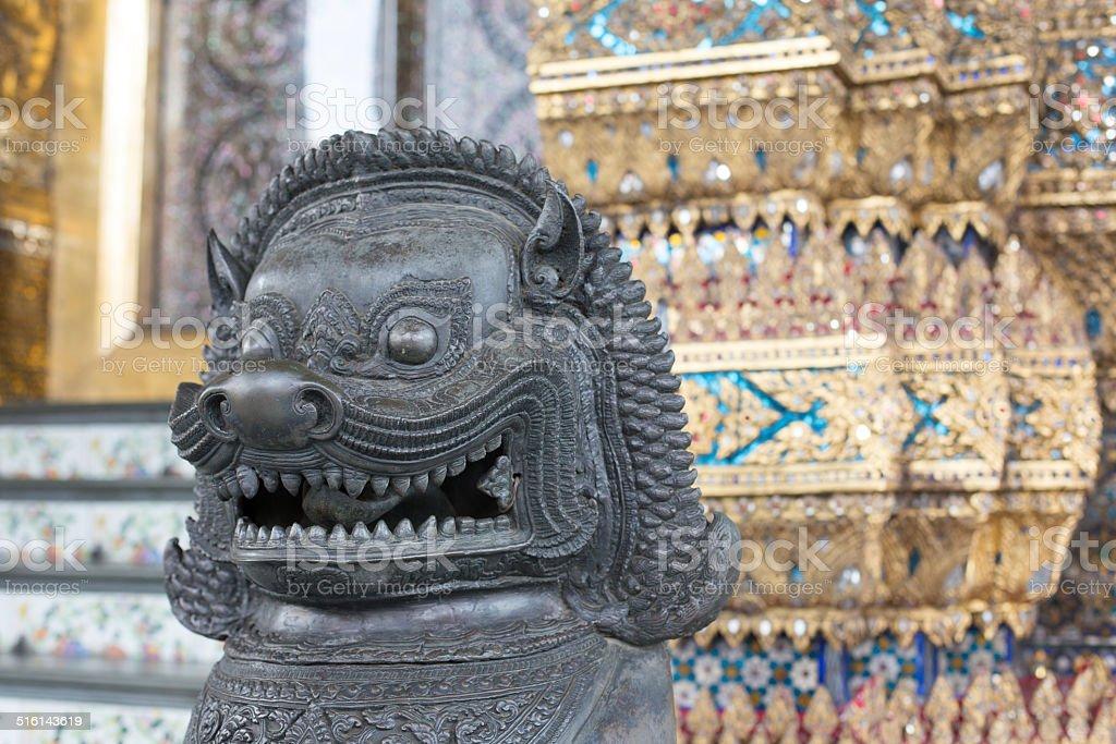 Bronze Guardian Lion statue, Wat Phra Kaew, Bangkok, Thailand stock photo