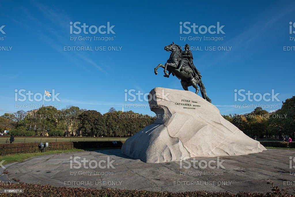 Bronze Horseman - monument to Emperor Peter the Great stock photo