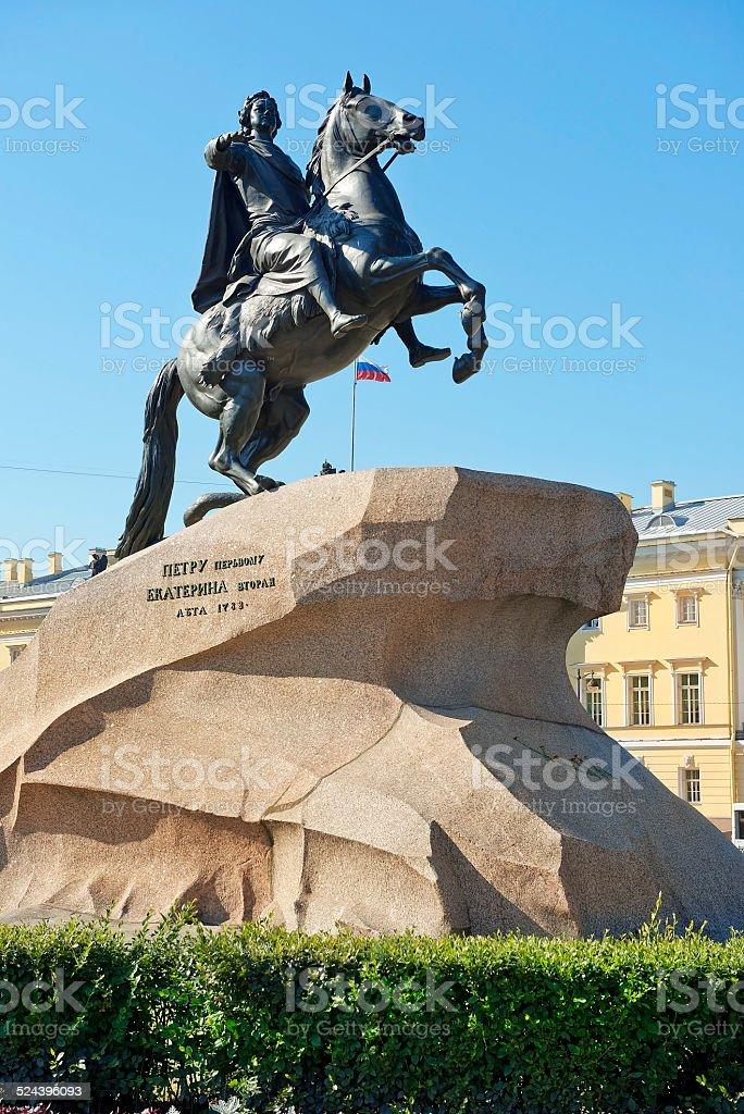 Bronze Horseman, statue of Peter the Great in St Petersburg stock photo