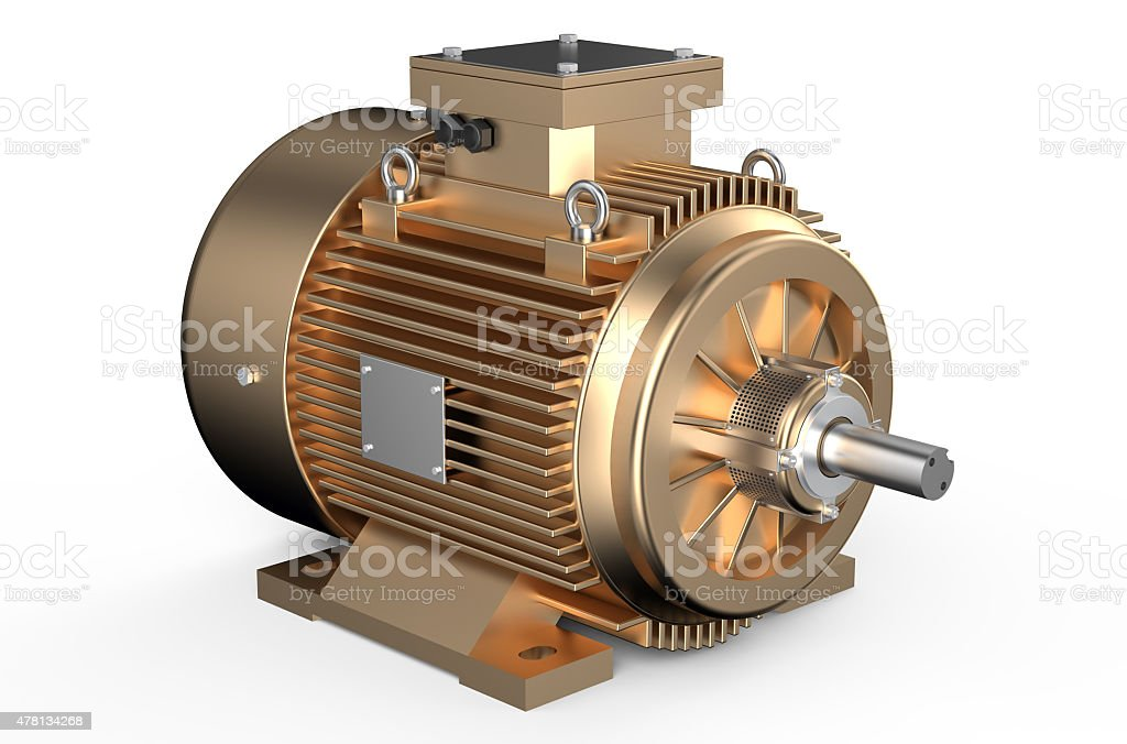 Bronze industrial electric motor stock photo