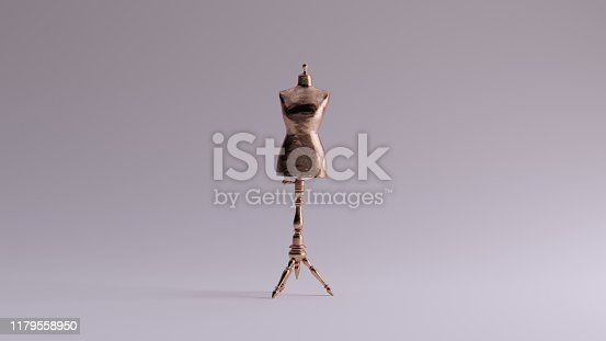 Bronze Judy Dressmakers Dress Form  Mannequin Front View 3d illustration 3d render