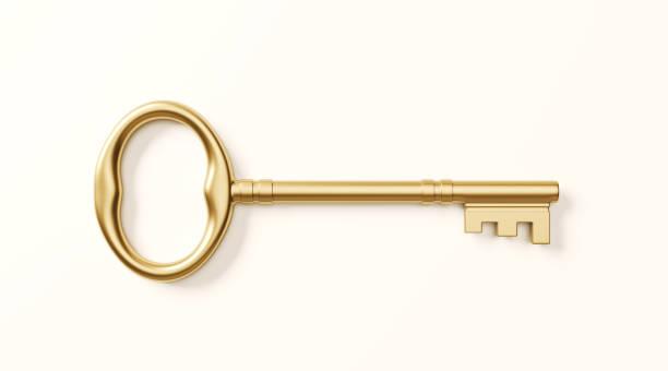 白色背景上的青銅鑰匙 - 鎖匙 個照片及圖片檔