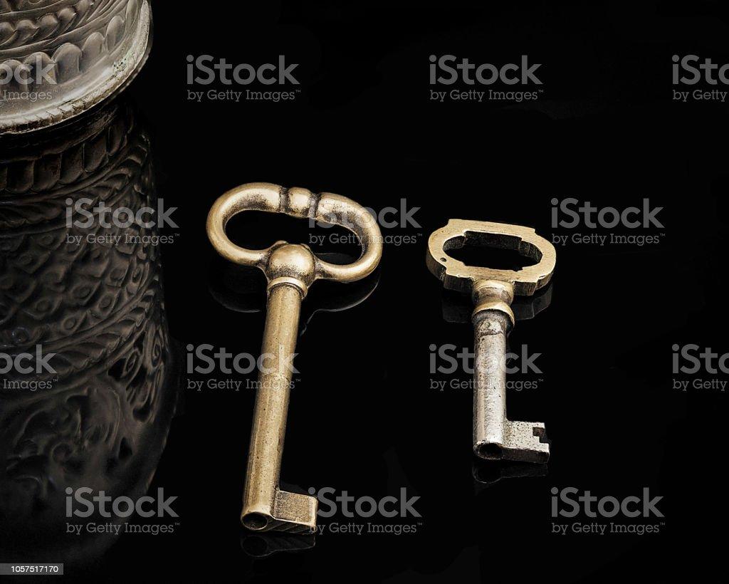Bronze Keys. Isolated. stock photo