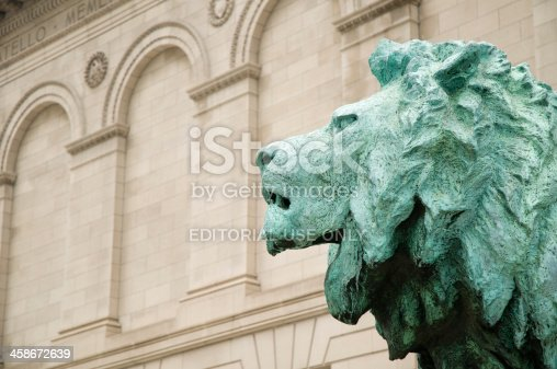 istock Bronze lion at the Art Institute Of Chicago 458672639