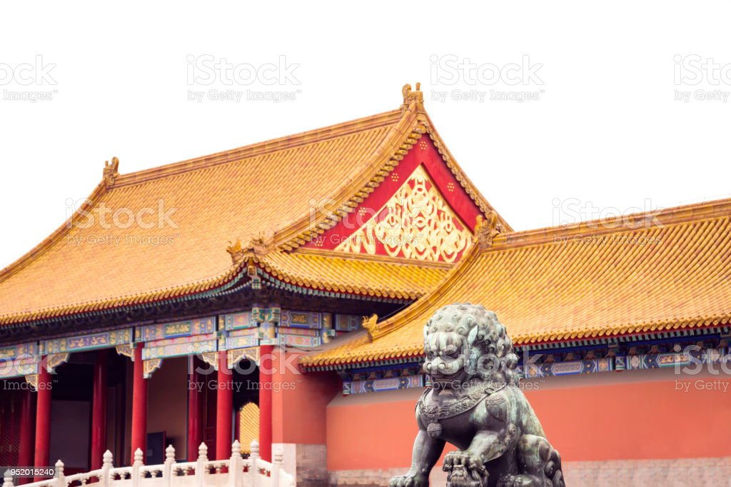 Bronze Lion At The Forbidden Citybeijingchinese Symbol Stock Photo