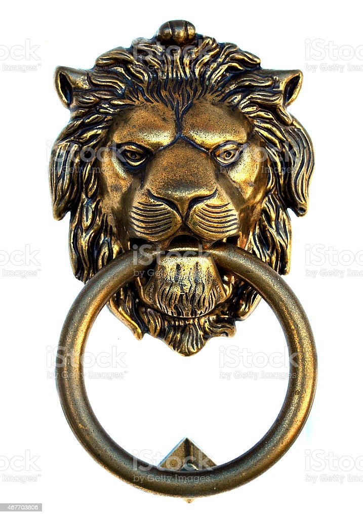 Bronze lion door knocker stock photo