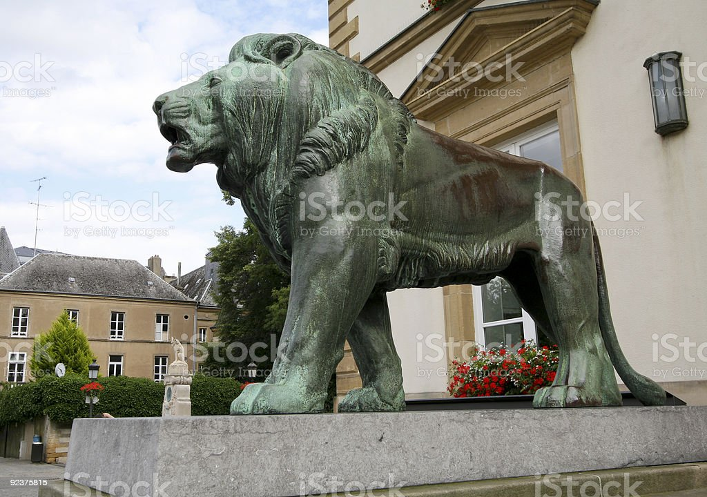 Bronze lion in Luxembourg royalty-free stock photo
