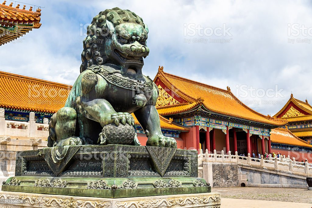 Bronze lion near the Hall of Supreme Harmony - Beijing stock photo