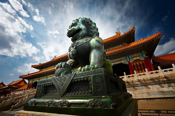 Bronze lion Bronze lion in forbiden city,china,beijing. forbidden city stock pictures, royalty-free photos & images