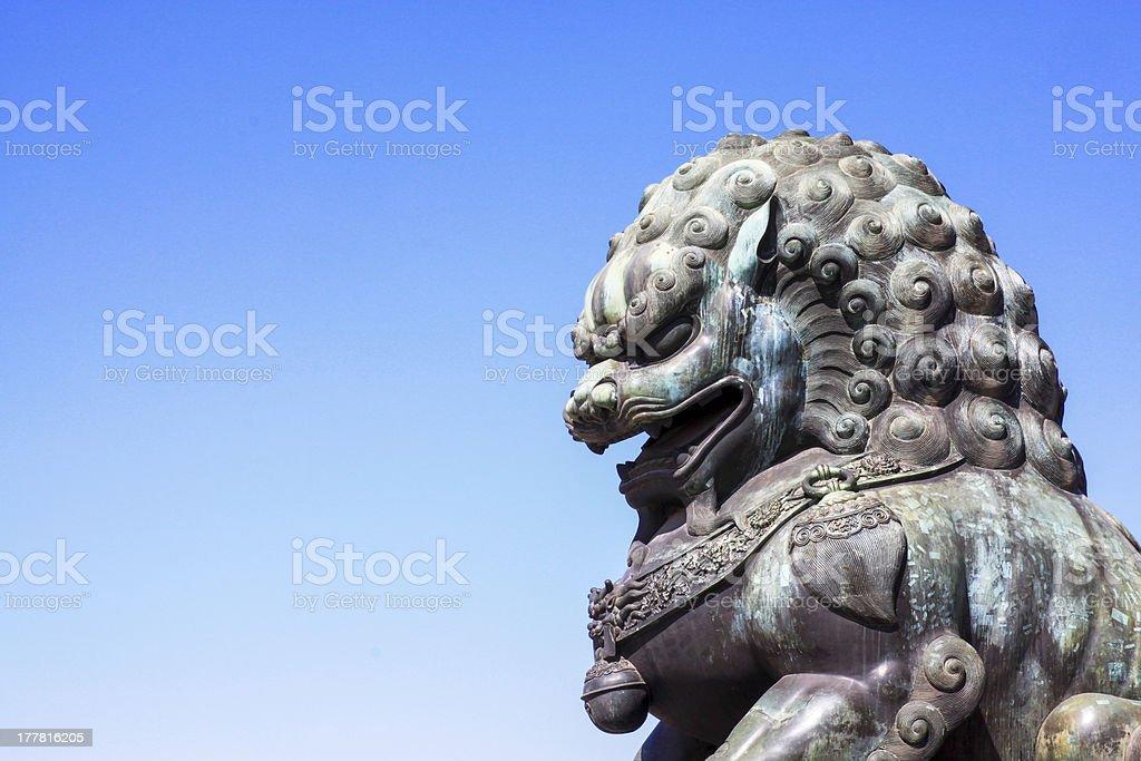 bronze lion royalty-free stock photo