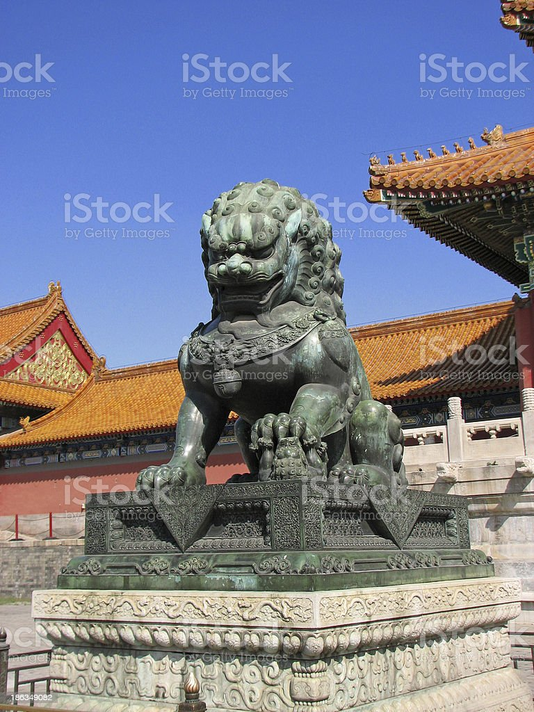 Bronze Lion Statue at entrance of Forbidden City, Beijing royalty-free stock photo