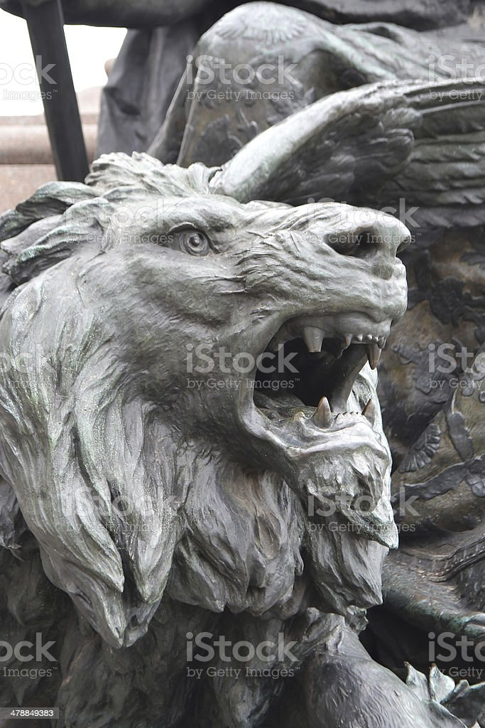 Bronze lion statue. stock photo
