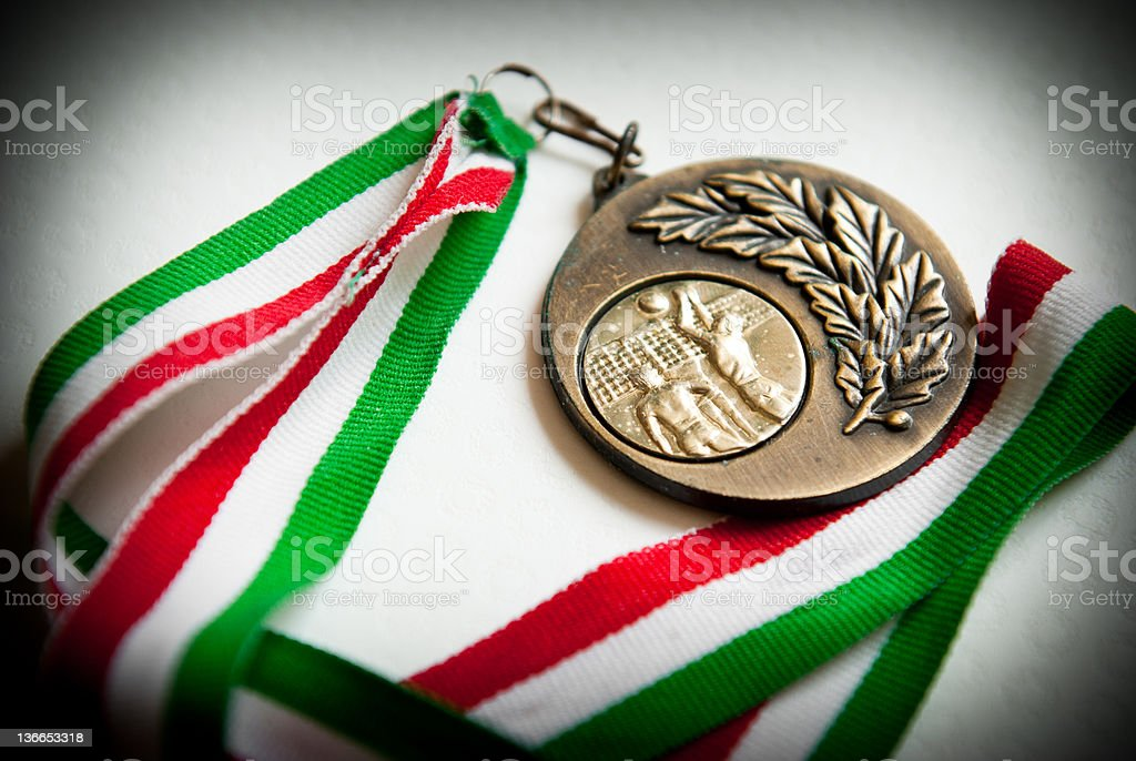 Bronze medal of volley festival match stock photo