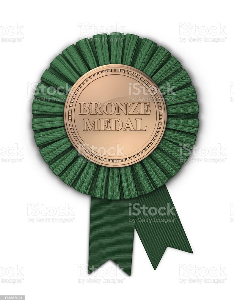 Bronze Medal with Green Ribbon royalty-free stock photo