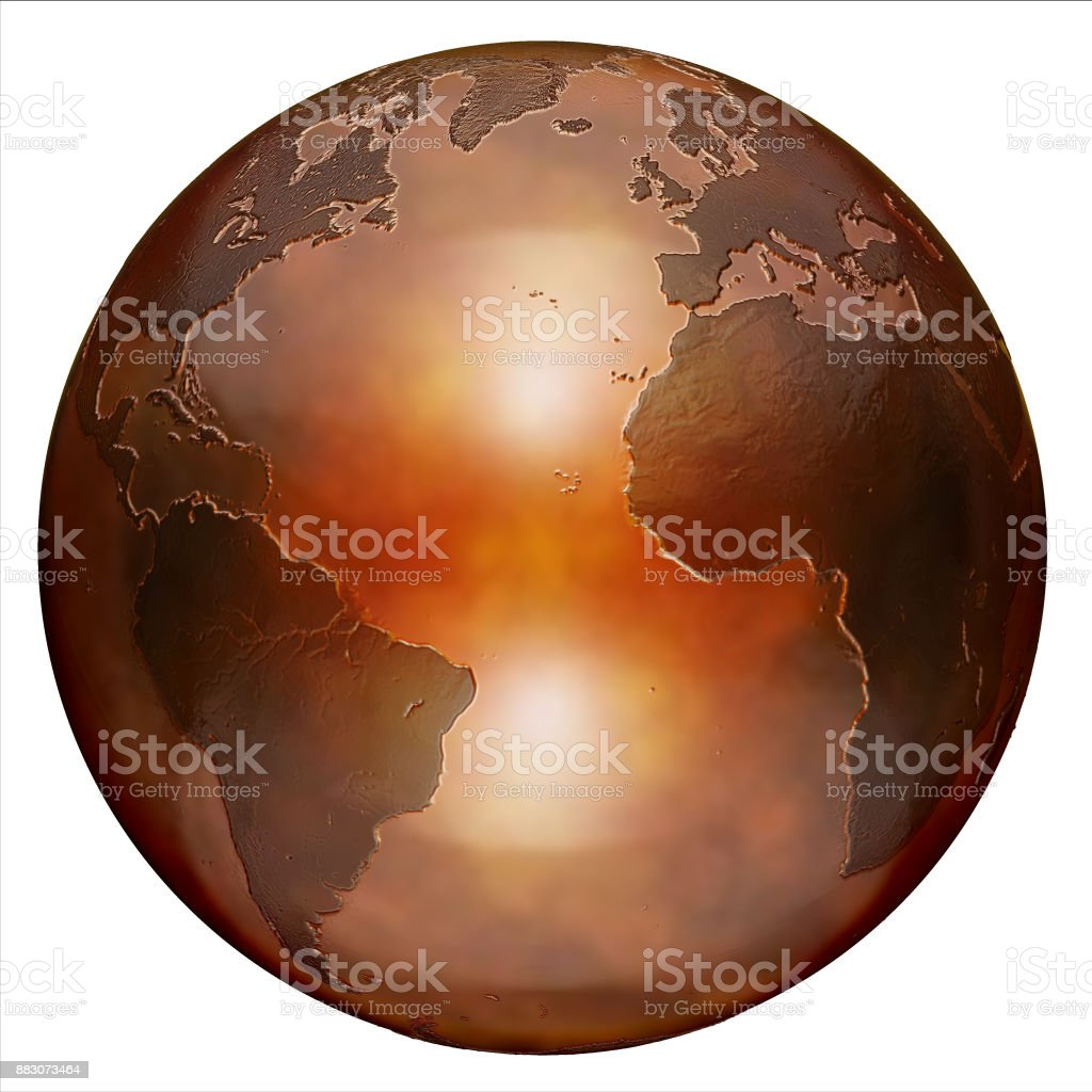 bronze metallic globe 3d isolated illustration stock photo