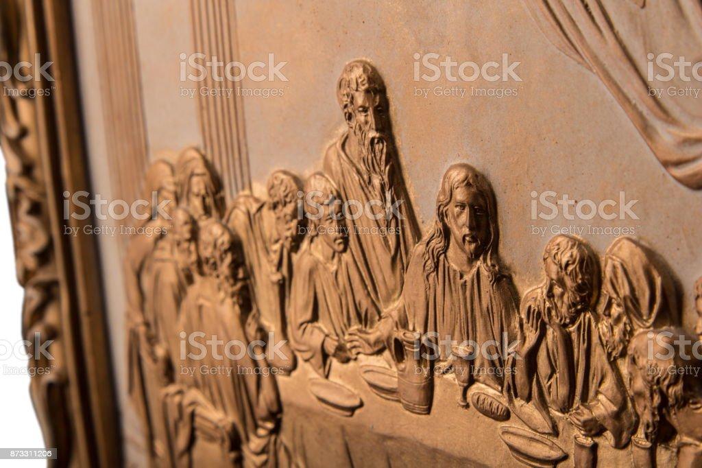 Bronze-Bild letzte Retter, Gips Rahmen isoliert auf einem Hintergrund – Foto