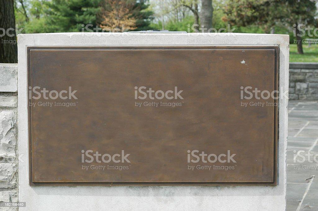 Bronze Plaque On Stone royalty-free stock photo