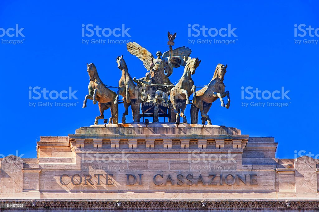 Bronze quadriga on the Palace of Justice in Rome stock photo
