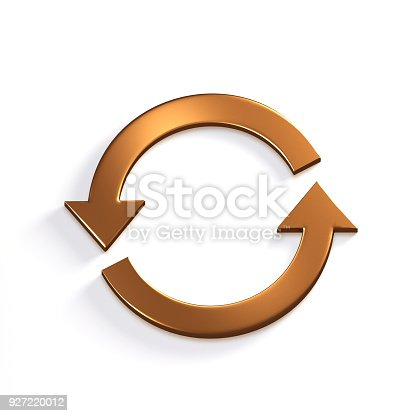 istock Bronze Recycling Circular Arrows. Gold. 3D Render Illustration 927220012