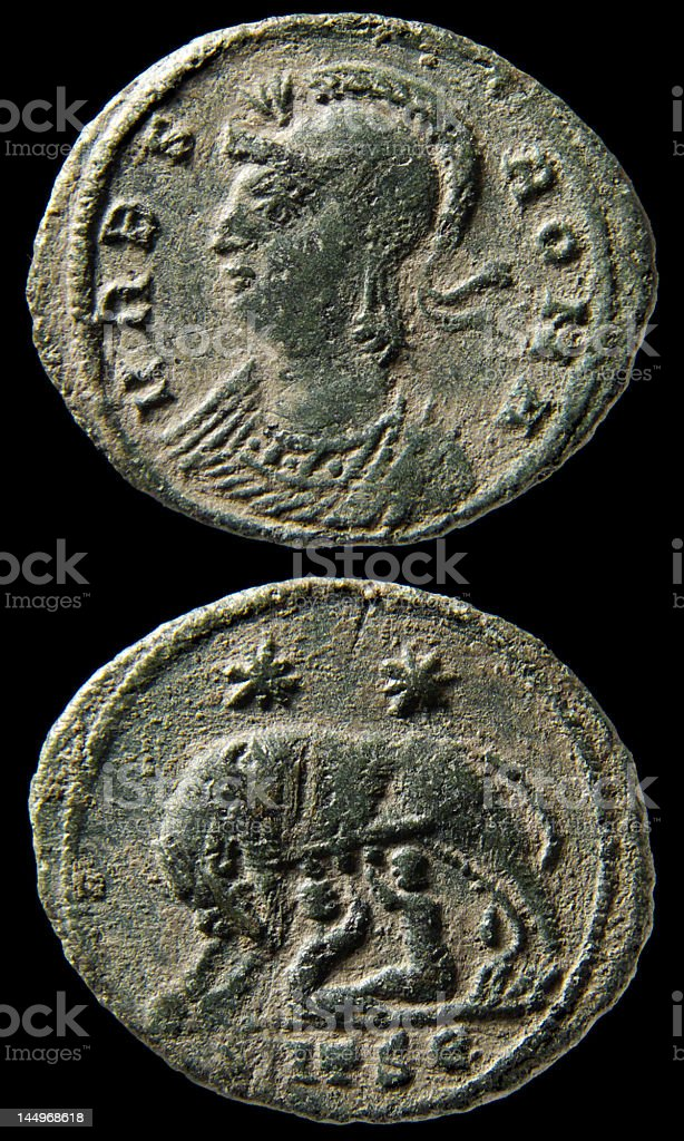 Bronze Roman Coin of Constantine I (the Great) stock photo