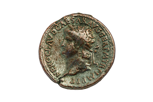Bronze Roman Sestertius coin of Roman emperor Nero AD 54-68 cut out and isolated on a white background