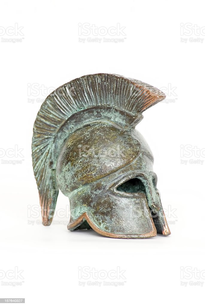 Bronze rusted Ancient Greek helmet stock photo