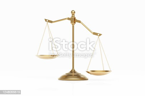 824305956 istock photo Bronze Scale Standing on White Background 1248055515