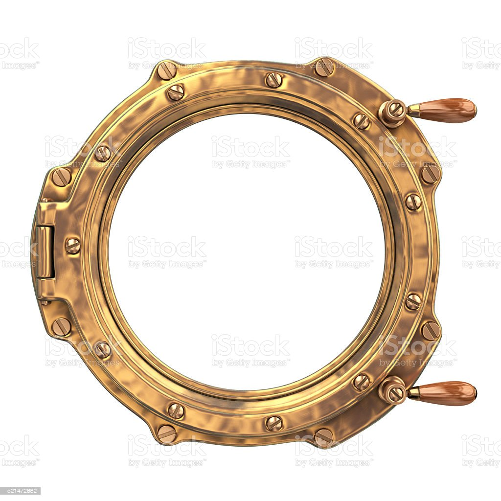 Bronze ship porthole isolated on white stock photo