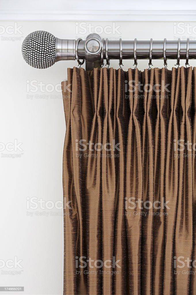 bronze silk curtains stock photo