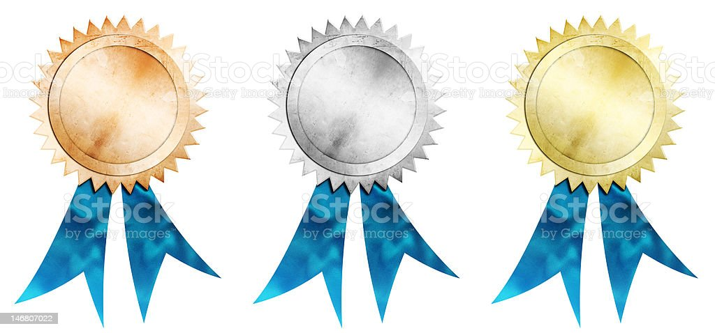 bronze silver and gold medals stock photo