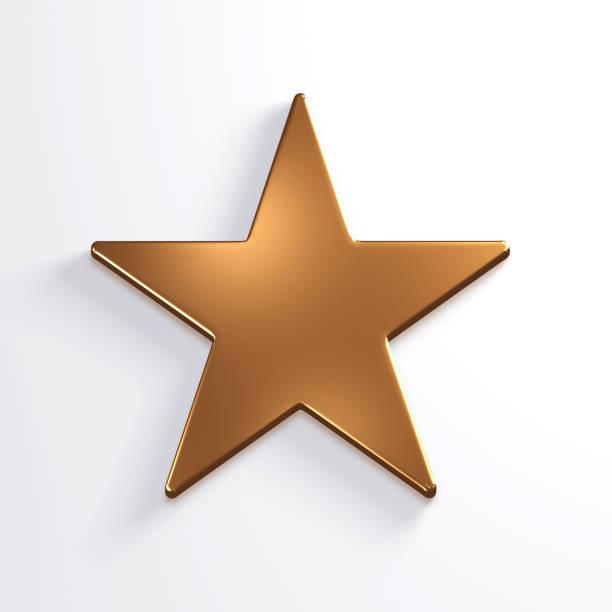 bronzestern symbol. 3d render-illustration - kunst 1. klasse stock-fotos und bilder